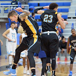 Sheridan College's Sebastian Ferenc, left, celebrates with teammate Channel Banks after the Generals knocked of 12th-ranked Gillette College on Wednesday, Jan. 11 at the Pronghorn Center i ...