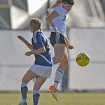 Katelynn Brooks jumps to keep the ball away from an opponent during the Lady Generals' Region IX Tournament match against Trinidad State Junior College on Friday, Oct. 20 at Maier Field. M ...