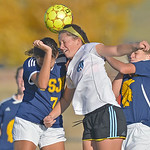 Sheridan College's Hannah Ozmon heads the ball in a crowd of people during the Lady Generals' Region IX Tournament match against Trinidad State Junior College on Friday, Oct. 20 at Maier ...