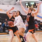 Matthew Gaston | The Sheridasn PressSheridan College's Tala Tuisavure (24) is fouled on her way to the basket during play against Central Wyoming College Saturday, Feb. 16, 2019.