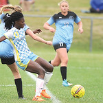 Fortune Kede battles for the ball during Sheridan College's 3-1 win over Gillette College Saturday.Ryan Patterson | The Sheridan Press
