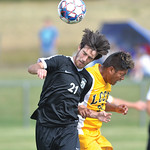 Bud Denega | The Sheridan Press Sheridan College's Luke Gluhosky heads a ball during the Generals' Region IX match against Laramie County Community College Saturday, Sept. 22, 2018. Gluh ...