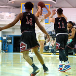 Matthew Gaston | The Sheridan PressSurrounded by Northwest defenders, Sheridan College's Tristan Bower (23) shoots from the free throw line Wednesday, Feb. 19, 2020. The Generals won 94-82 ...