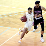 Matthew Gaston | The Sheridan PressSheridan College's Markel Aune (14) drives the lane against Northwest's Rambo Badyal (20) during the Generals 94-82 victory Wednesday, Feb. 19, 2020.