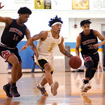 Matthew Gaston | The Sheridan PressSheridan College's JoVon McClanahan (3) breaks down court with defenders from Northwest hot on his heels Wednesday, Feb. 19, 2020. The Generals won 94- 8 ...