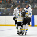 Joel Moline | The Sheridan Press Sheridan NA3HL Hawks players McCaffery Billings, Jonathon Teasdale and Steven Delikat celebrate a Teasdale goal against the Butte Cobras Saturday, Jan. 11, 2 ...