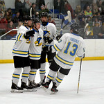 Joel Moline | The Sheridan Press Sheridan NA3HL Hawks players Stpean Ruta, Kolton Wright, McCaffery Billinings and Jonathan Teasdale celebrate a goal against the Butte Cobras Saturday, Jan.  ...