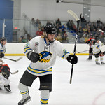 Joel Moline | The Sheridan Press Sheridan NA3HL Hawks player Stepan Ruta (24) celebrates after netting a goal against the Butte Cobras Saturday, Jan. 11, 2020.