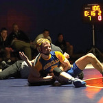 Matthew Gaston | The Sheridan PressSheridan's Kolton Powers claims a victory during his first official wrestling match of his high school career Thursday, Dec. 12, 2019.