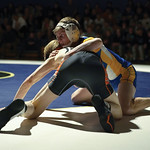 Matthew Gaston   The Sheridan PressSheridan's Rudy Osborne struggles to move into a dominat postion over his opponet during the dual with Worland Thursday, Dec. 12, 2019.