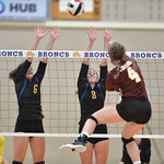 Bud Denega | The Sheridan Press Sheridan's Madyson Godwin, left, and Abby Sanders go up for a block during a game against Laramie at Sheridan High School Saturday, Oct. 13, 2018. The Lady  ...