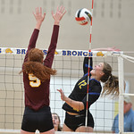 Bud Denega | The Sheridan Press Sheridan's Jordan Christensen rises for a hit during a game against Laramie at Sheridan High School Saturday, Oct. 13, 2018. The Lady Broncs downed the Lady ...