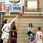 Joel Moline | The Sheridan Press Sheridan's Same Lecholat (35) blocks Laramie's Mahlon Morris (2) Saturday, Feb. 15, 2020.