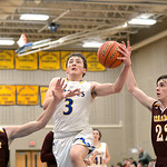 Joel Moline | The Sheridan Press Sheridan's Zach Koltsika (3) drives in for a layup against Laramie High School Saturday, Feb. 15, 2020.