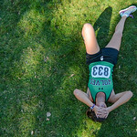 Justin Sheely | The Sheridan Press Moorcroft High School's Hailey Jones rests on the grass after winning the Class 2A girls State Cross-Country Championship Saturday at the Veterans Affair ...