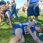Justin Sheely | The Sheridan Press Sheridan's Jered McCafferty, left, and Brian Gonda rest after finishing in the Class 4A boys State Cross-Country Championship Saturday at the Veterans Af ...
