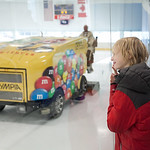Tibby McDowell | The Sheridan Press Nine-year-old Kaden Craig watches the zamboni clear the ice after the completion of the first period of Sheridan Hawks vs Pinedale in the semi-finals of t ...