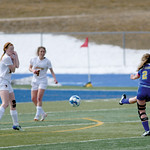 Matthew Gaston | The Sheridan PressSheridan's Talia Steele (2) fires off a shot from outside the box against Laramie at Homer Scott Field Saturday, March 23, 2019.