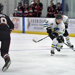 Joel Moline | The Sheridan Press Sheridan NA3HL Hawks player Jonathan Teasdale (13) takes control of the puck in the offensive zone against the Missoula Junior Bruins Saturday, Nov. 9.