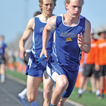Bud Denega | The Sheridan Press Sheridan's Alec Riegert takes the handoff from Tymer Goss in the 1,600-meter relay at the Dan Hanson Invite at Homer Scott Field Saturday, April, 21, 2018.