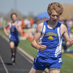 Justin Sheely | The Sheridan Press Sheridan's Brian Gonda celebrates after crushing the 1600-meter run during the Dan Hansen invite Sheridan High School Saturday, April 21, 2018.