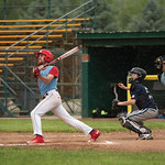 Matthew Gaston | The Sheridan PressSheridan's Race Johnston (19) drives a hit into left field at Thorne-Rider Stadium Wednesday, June 19, 2019.