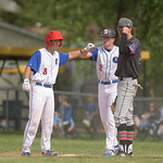 Matthew Gaston | The Sheridan PressSheridan's Cody Kilpatrick (8) fist bumps Rich Hall after a solid base hit against Gillette Wednesday, May 27, 2020.