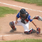 Matthew Gaston   The Sheridan PressTroopers' catcher Cody Kilpatrick (8) just misses the tag at home plate allowing Gillette to score the fourth run of the game Wednesday, May 27, 2020.