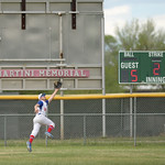 Matthew Gaston   The Sheridan PressThe Troopers' left fielder Jaron Brewer (20) leaps for a ball hit deep during play against Gillette Wednesday, May 27, 2020.