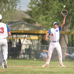 Matthew Gaston   The Sheridan PressThe Sheridan Troopers Eric Taylor stretches to make the catch to retire the side against Gillette Wednesday, May 27, 2020. The Troopers fell to Gillette 12 ...