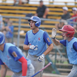Bud Denega | The Sheridan Press Sheridan's Quinton Brooks scores in a game against Gillette at Thorne-Rider Stadium Wednesday, July 18, 2018. The Roughriders topped the Troopers 8-4.