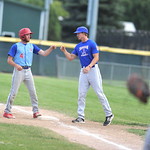 Bud Denega | The Sheridan Press Sheridan's Race Johnston stands on first in a game against Gillette at Thorne-Rider Stadium Wednesday, July 18, 2018. The Roughriders topped the Troopers 8- ...