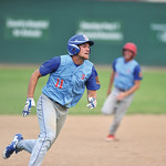 Bud Denega | The Sheridan Press Sheridan's Quinton Brooks rounds third in a game against Gillette at Thorne-Rider Stadium Wednesday, July 18, 2018. The Roughriders topped the Troopers 8-4.
