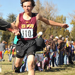 Ryan Patterson | The Sheridan Press Big Horn's Billy Watson crosses the finish line during the state cross-country meet at the Veteran Affairs Medical Center in Sheridan on Saturday, Oct.  ...