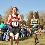 Ryan Patterson | The Sheridan Press Big Horn's Kobie Cummins, left, and Tongue River's Jett Walker cross the finish line during the state cross-country meet at the Veteran Affairs Medica ...