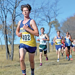 Bud Denega | The Sheridan Press Sheridan's Alex garber leads a pack of runners during the state cross-country meet at the Sheridan Veterans Affairs Medical Center Saturday, Oct. 20, 2018.