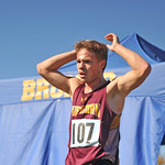 Ryan Patterson | The Sheridan Press Big Horn's Nathaniel Lydic reacts after finishing his race during the state cross-country meet at the Veteran Affairs Medical Center in Sheridan on Satu ...