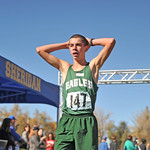 Ryan Patterson | The Sheridan Press Tongue River's Jason Barron reacts after finishing his race during the state cross-country meet at the Veteran Affairs Medical Center in Sheridan on Sat ...