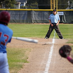 Former Trooper Kris Clark straddles the first baseline as he umpires the Sheridan Troopers' game against Laramie on Thursday, July 21 at Thorne-Rider Stadium. Mike Pruden | The Sheridan Pr ...