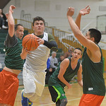 Justin Sheely | The Sheridan Press Team For The People's Matt Willey drives the ball against Tongue River during adult league basketball Wednesday at the Tongue River Valley Community Cent ...