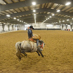 Justin Sheely | The Sheridan Press Sheridan College Rodeo Athlete Tate Clark rides saddle bronc during the last practice week of the season Tuesday at the Sheridan College AgriPark. Sheridan ...