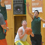 Justin Sheely | The Sheridan Press Team For The People's Dillon Patterson fake pumps team Tongue River's Leo Hugs during adult league basketball Wednesday at the Tongue River Valley Comm ...
