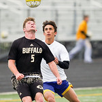 Bryce Taylor fights for a header Monday at Homer Scott Field. The Broncs fell to Buffalo 1-0.