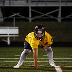 Lineman Jaxon Parker works on his three-point stance during Big Horn High School's midnight football practice on Monday, August 15. Monday marked the first official practice day of the sea ...
