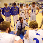 Justin Sheely | The Sheridan Press Sheridan Broncs head coach Jeff Martini talks to the team at the end of the third period during the game against the Camels Friday at Sheridan High School. ...