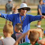 Sheridan Broncs assistant football coach Darin Gilbertson explains a drill to campers at the Sheridan High School football camp on Tuesday, July 19 at Homer Scott Field. Mike Pruden | The Sh ...