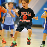 Luke McCarthy hopes to his left during a defensive-slide drill at the Sheridan College summer boys basketball camp on Tuesday, June 14 at the Bruce Hoffman Golden Dome. Mike Pruden | The She ...