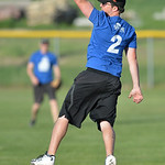 Justin Sheely | The Sheridan Press A pass from the outfield flies by Jimmy Stites during the Sheridan Recreation District's Adult League Softball Wednesday night at the Sheridan College Ca ...