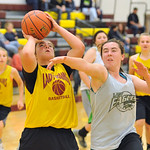 Big Horn's Shyan Davidson, left, shoots the ball over defender Jenna Keller on Tuesday, May 31 at Big Horn High School. The two teams scrimmaged as part of an ongoing summer series that in ...