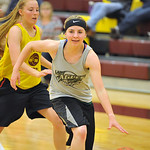 Tongue River's Libby Heimbaugh drives to the basket on Tuesday, May 31 at Big Horn High School. The two teams scrimmaged as part of an ongoing summer series that includes Buffalo and Worla ...